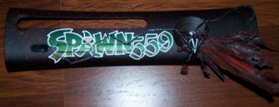Made for the owner of the gamertag, the plate is made so that Spawn's eyes glow green with the 360 is powered up.