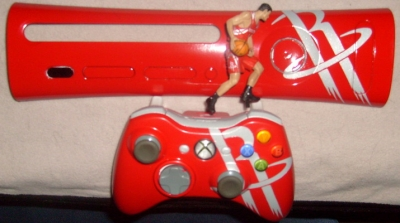 Houston Rockets custom painted plate and controller made by XBA member wicked_d365