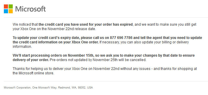 Xbox One Credit Card Expire